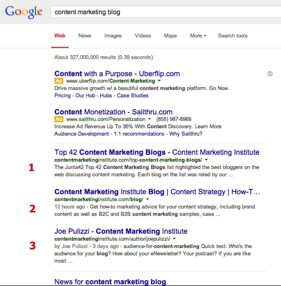 インフォメーショナルサーチの検索結果の表示例