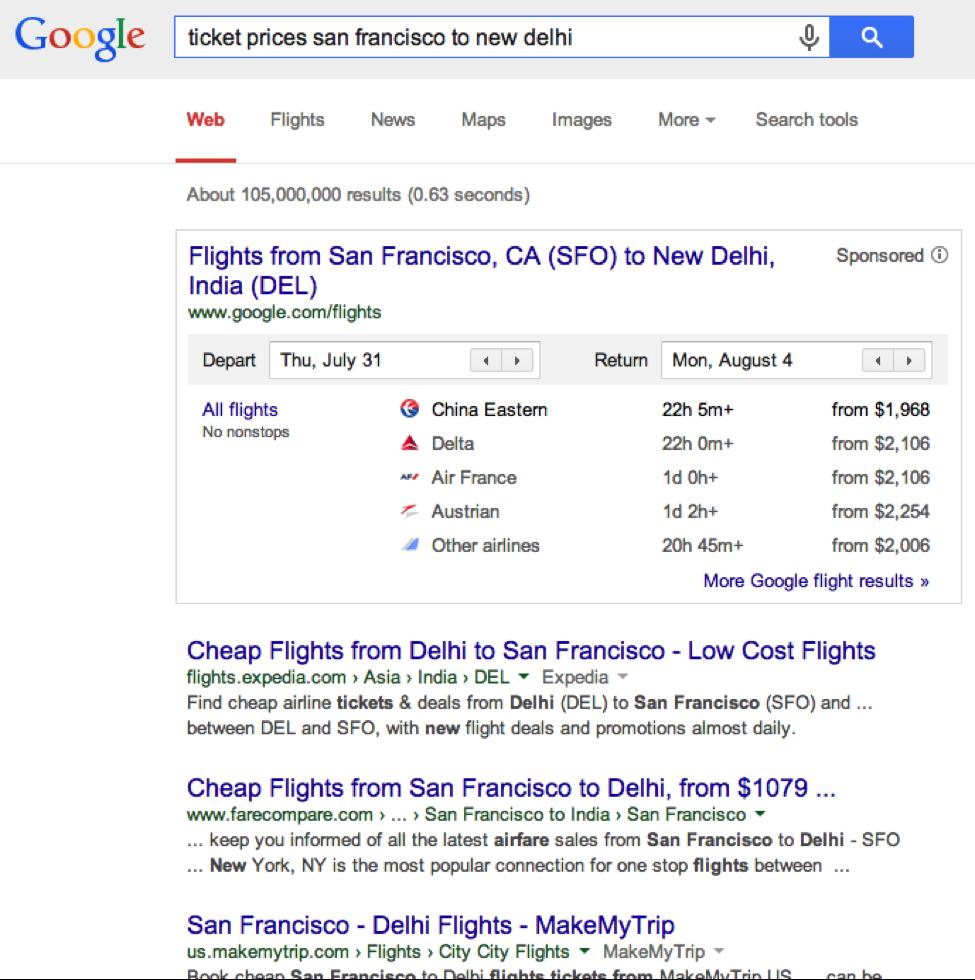 トランザクショナルリサーチの検索結果表示例