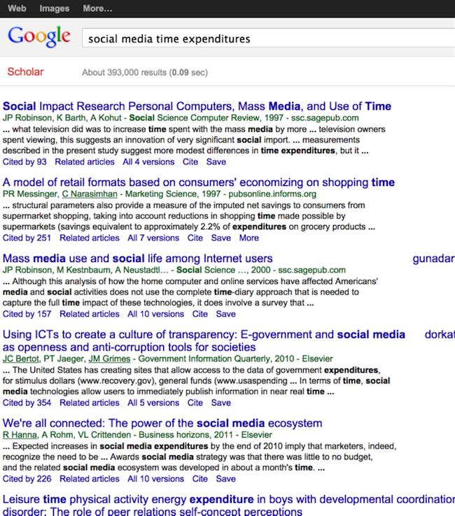 google Scholarの検索結果の例