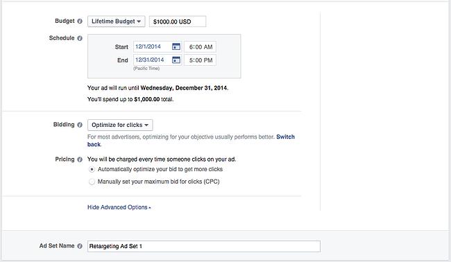 Facebookのオーディエンス設定の予算と価格