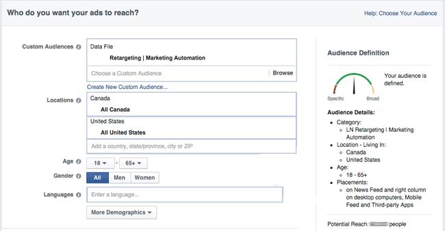 Facebookのオーディエンス設定