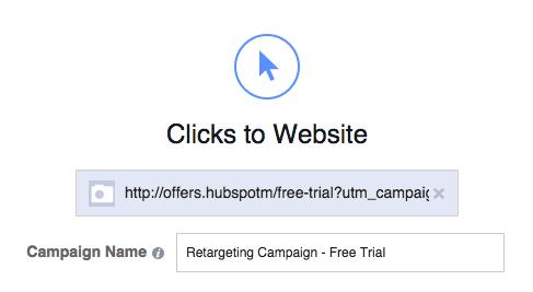 Facebook広告の設定であるクリックtoウェブサイトの選択画面