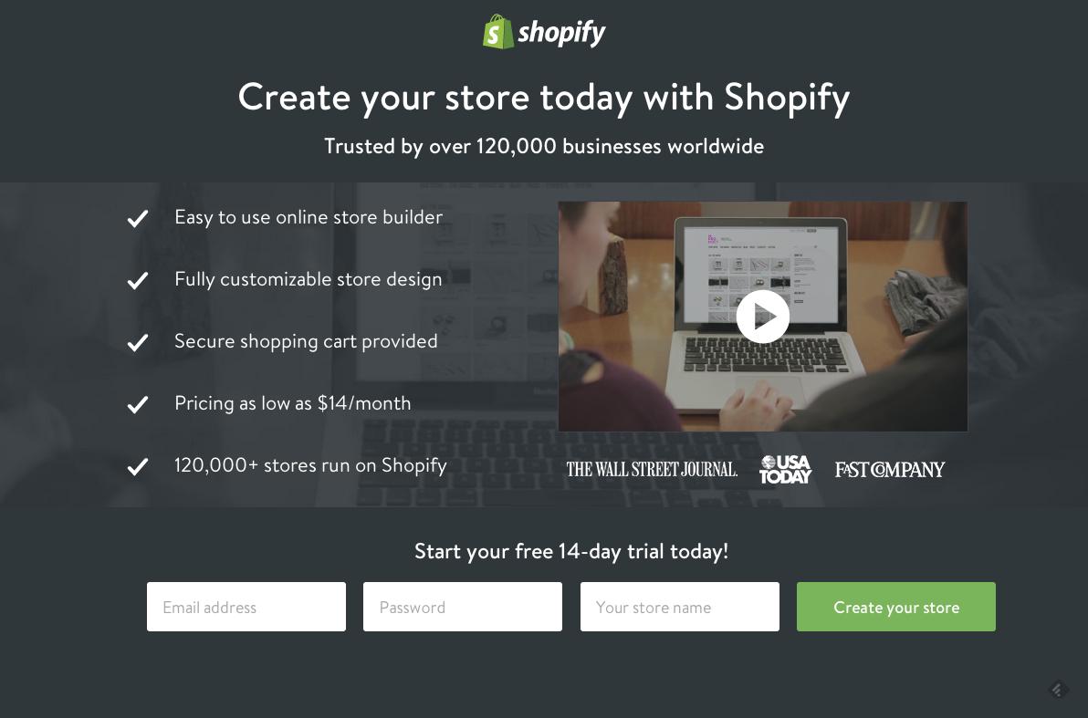 Shopifyのランディングページ