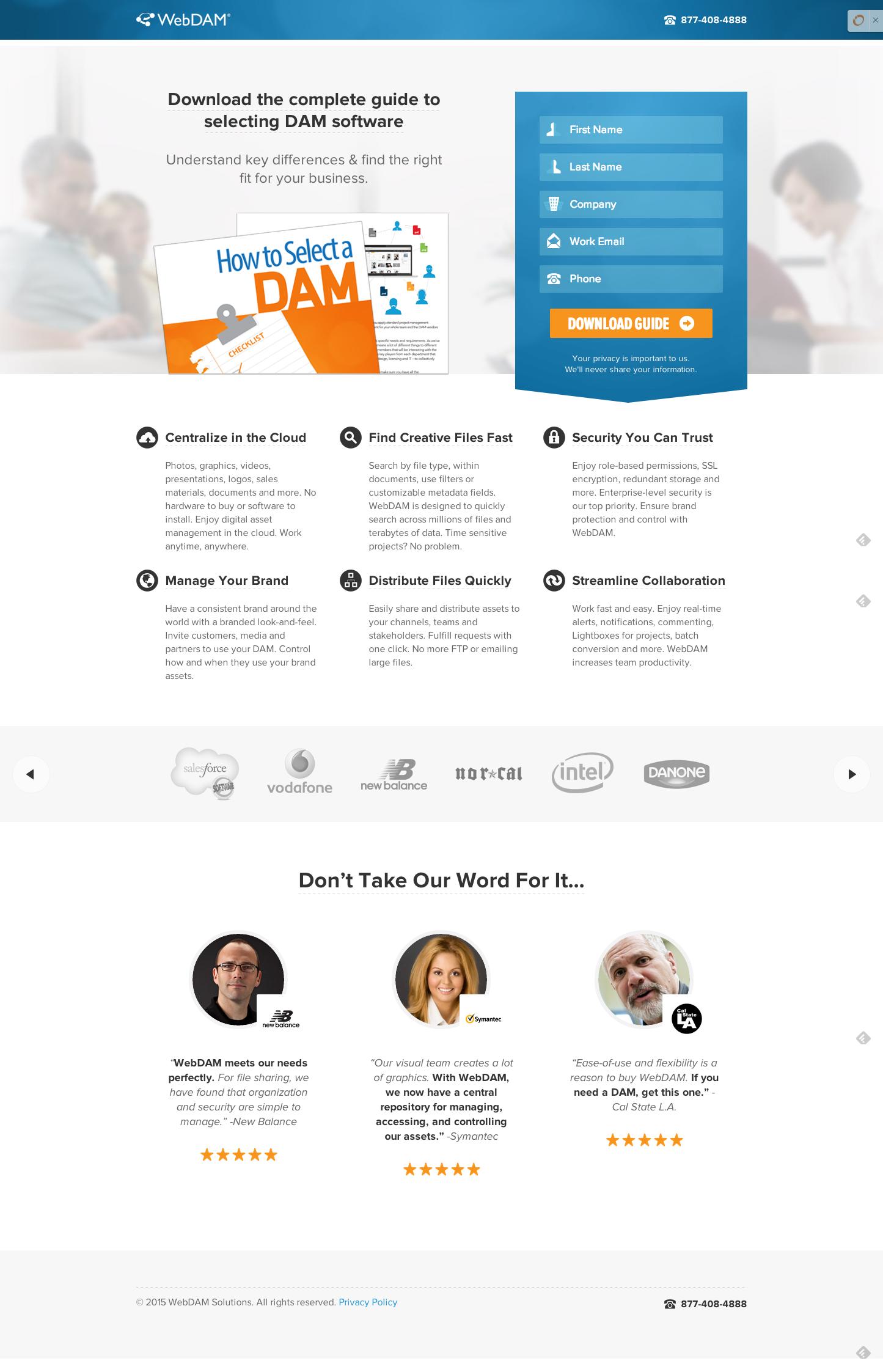 WebDAMのランディングページ例