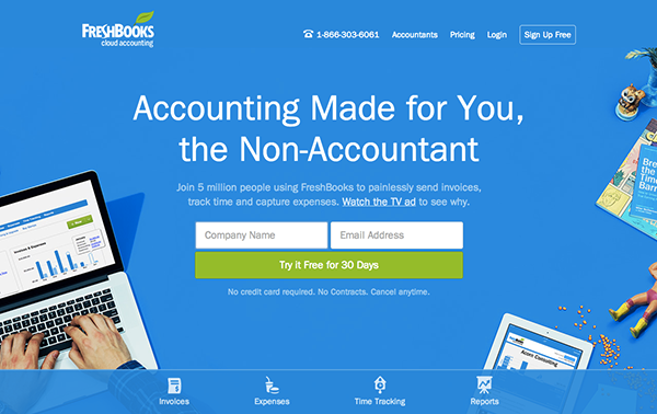 FreshBooksのホームページデザイン