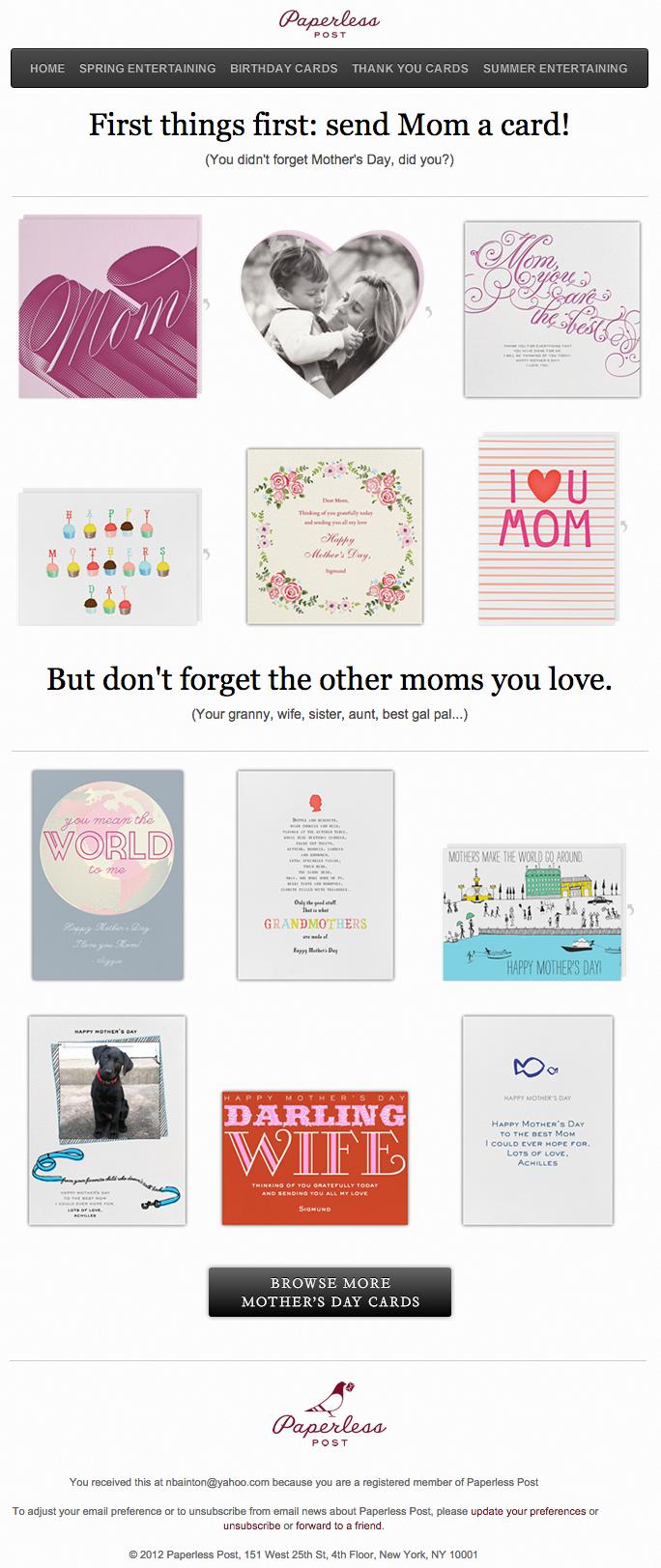 Paperless Postの綺麗なデザインのメールの実例