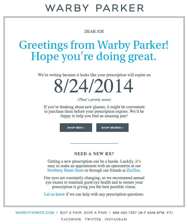 Warby Parkerの綺麗なデザインのメールの実例