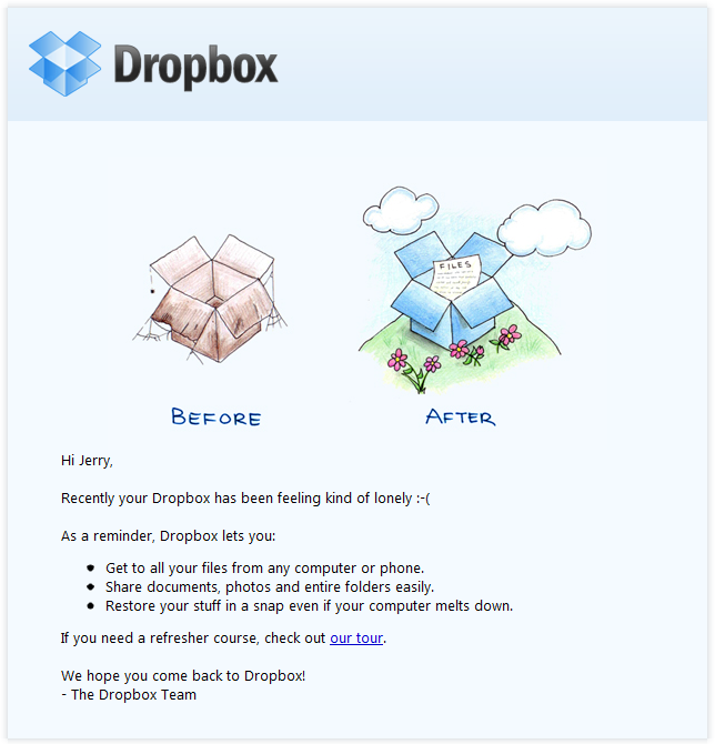 Dropboxの綺麗なデザインのメールの実例