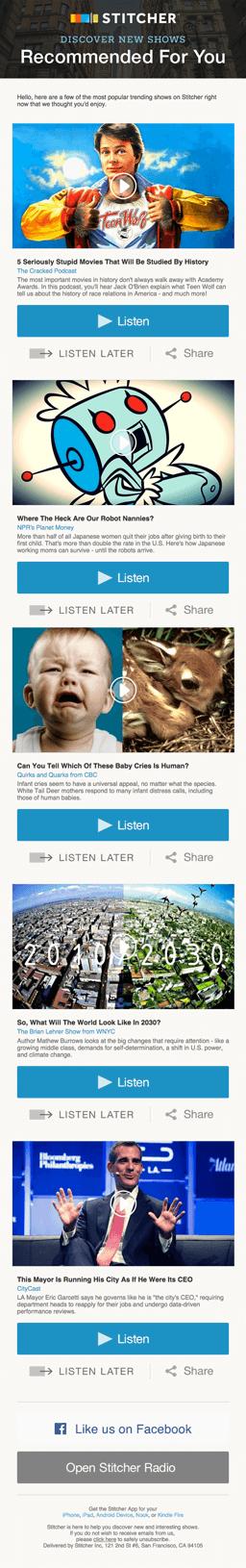 Stitcherの綺麗なデザインのメールの実例