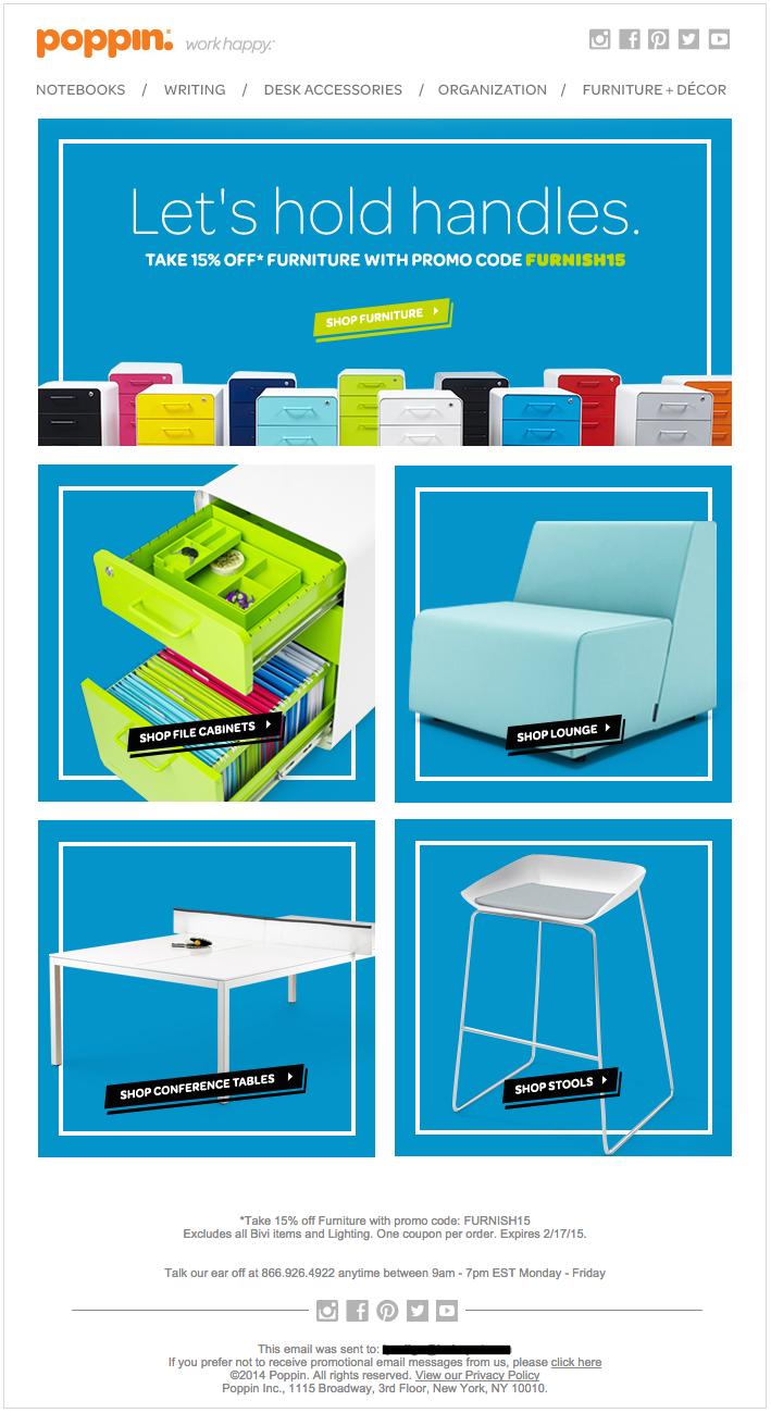 Poppinの綺麗なデザインのメールの実例