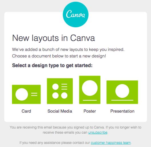 Canvaの綺麗なデザインのメールの実例