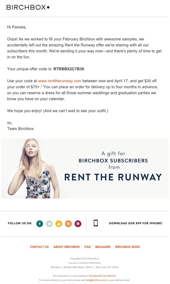 Birchboxの綺麗なデザインのメールの実例