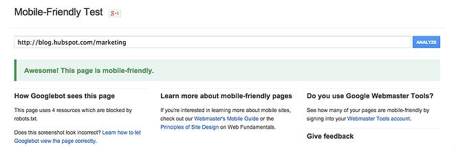 Googleのモバイルフレンドリーテストツール