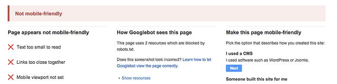 Googleのモバイルフレンドリーテストツールの結果