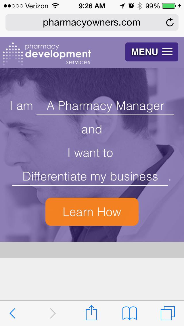 pharmacy development servicesのモバイルサイトページの例