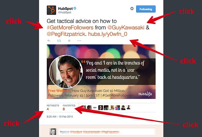 ツイート内でクリックできる箇所の例