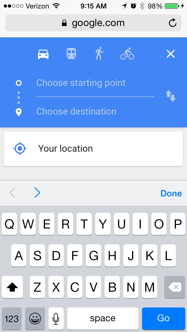 google mapsのモバイルサイトページの例