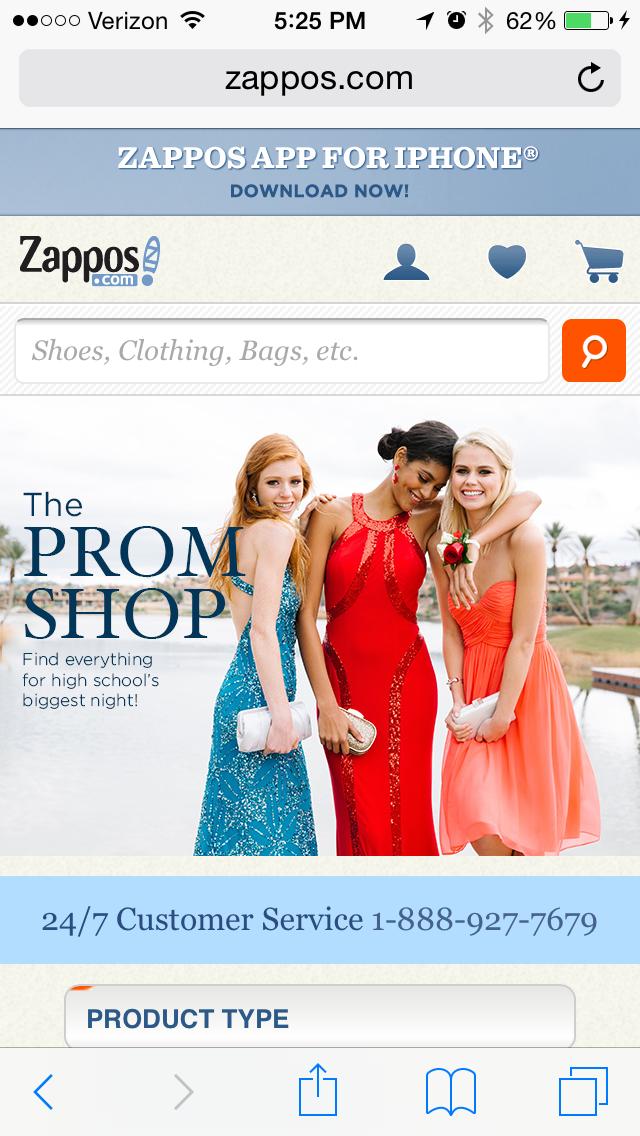 zapposのモバイルサイトページの例