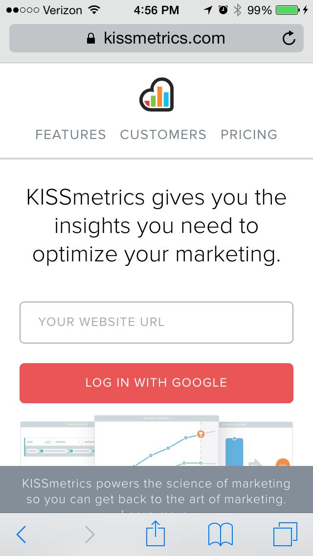 kissmetricsのモバイルサイトページの例