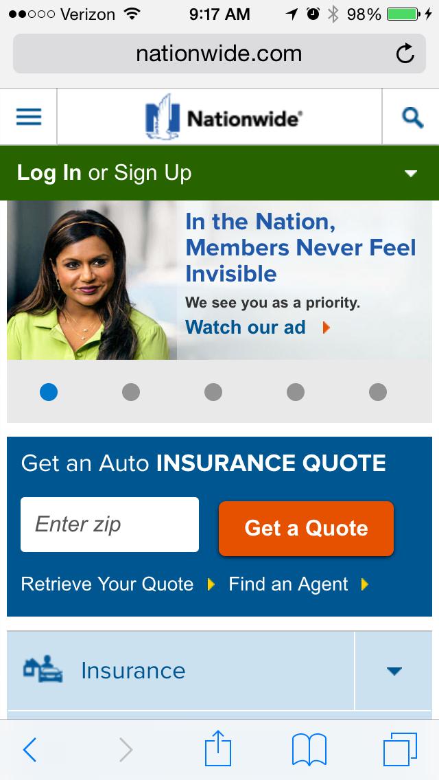 nationwide insuranceのモバイルサイトページの例