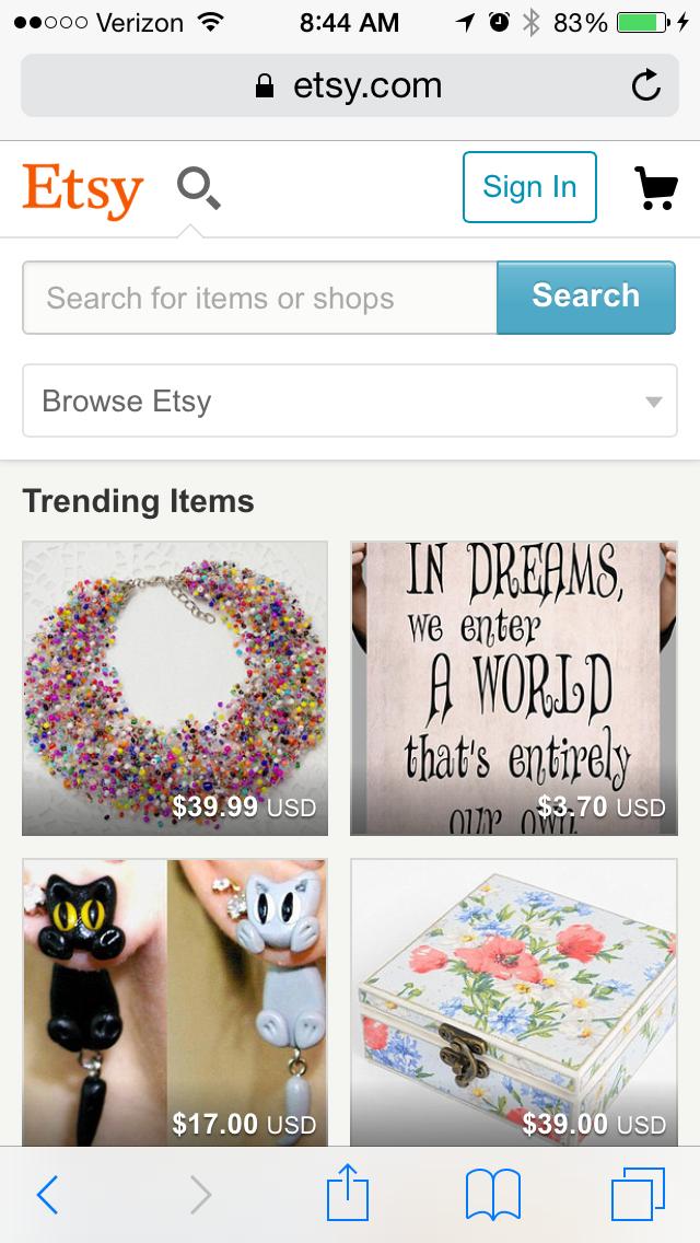 etsyのモバイルサイトページの例