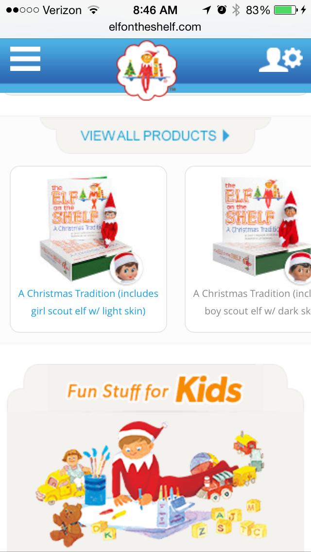 elf on the shelfのモバイルサイトページの例