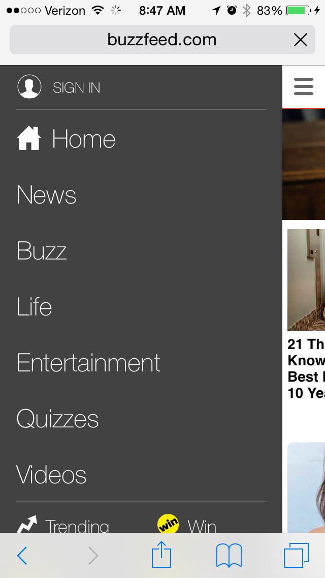 buzzfeedのモバイルサイトページの例