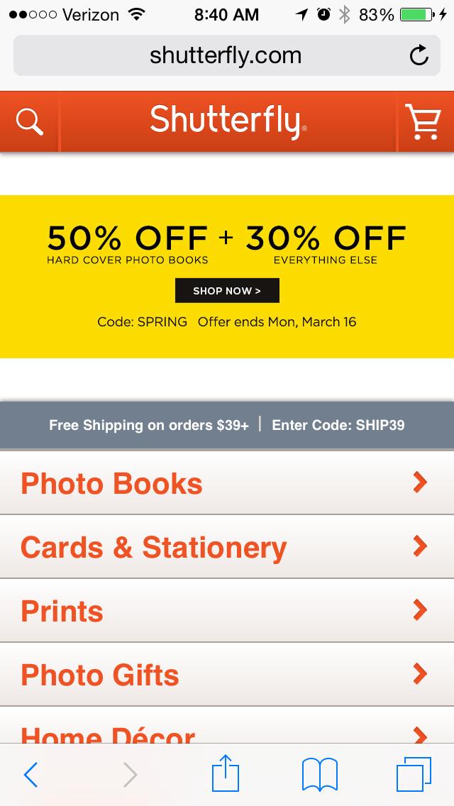 shutterflyのモバイルサイトページの例