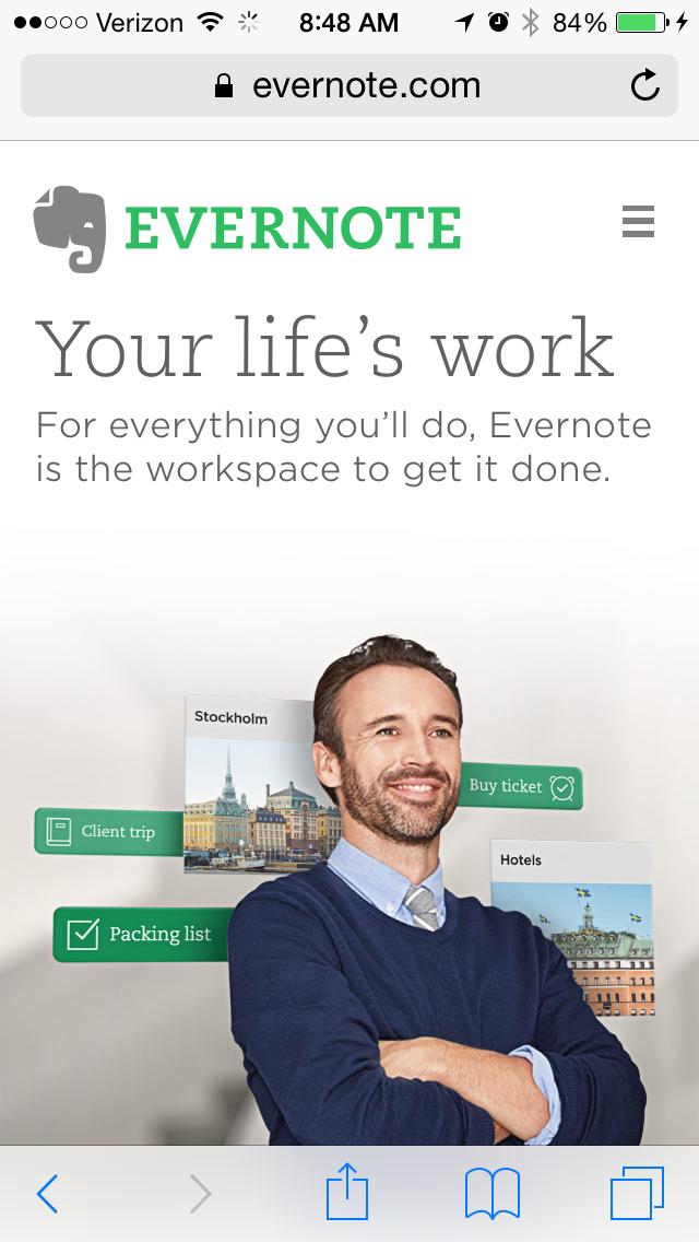 evernoteのモバイルサイトページの例