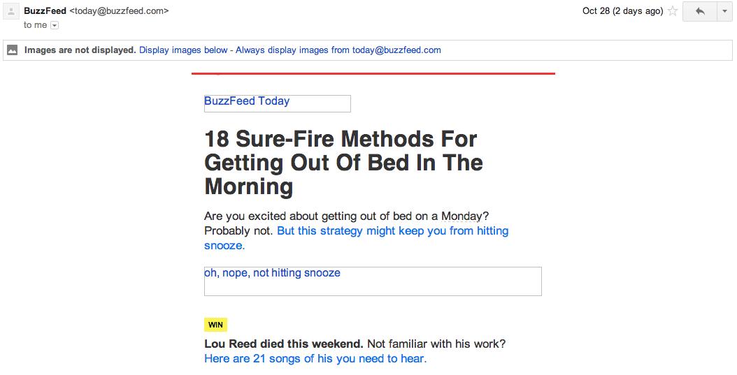BuzzFeedからのメールの実例