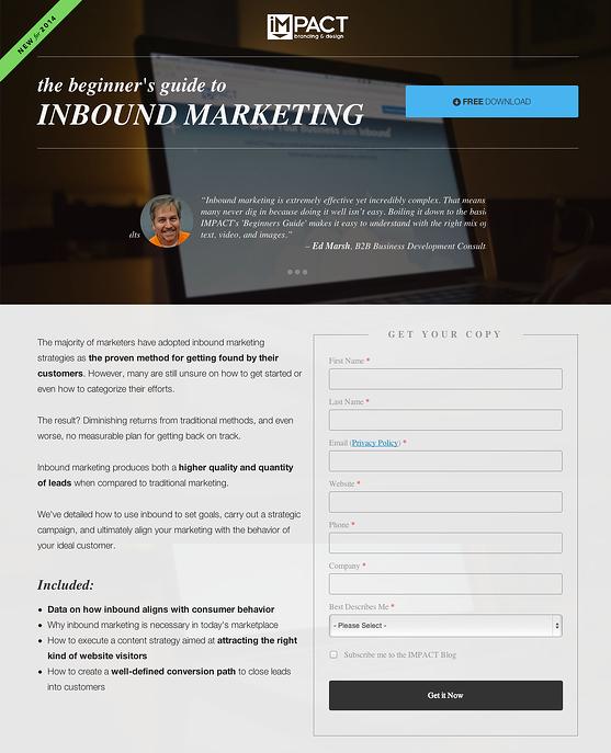 IMPACTのランディングページ例