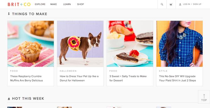 Brit+Coのカードデザイン型ウェブサイトの例