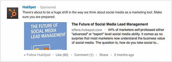 HubSpotがLinkedInに出稿した広告の一例