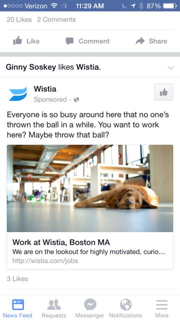 Facebookの広告の確認画面のひとつモバイルニュースタイプ