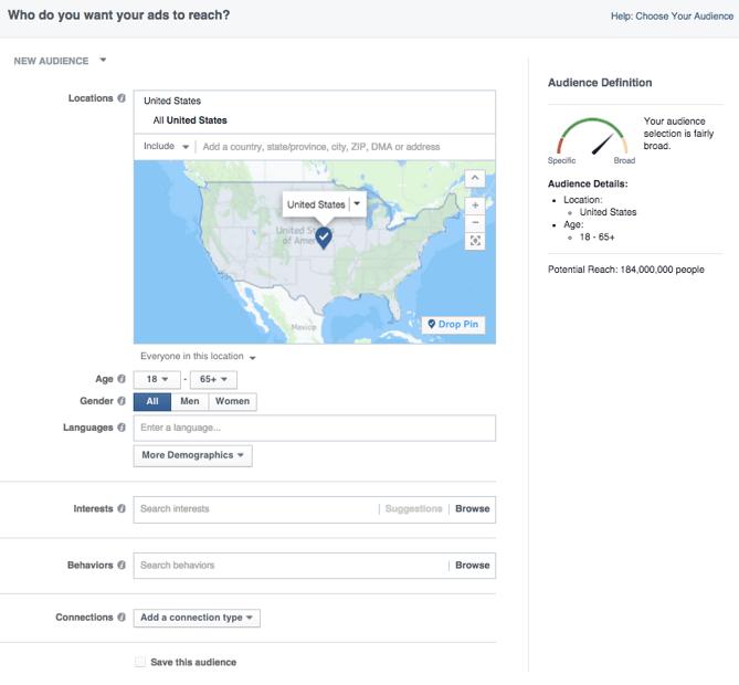 Facebookの広告設定画面のひとつオーディエンス設定画面
