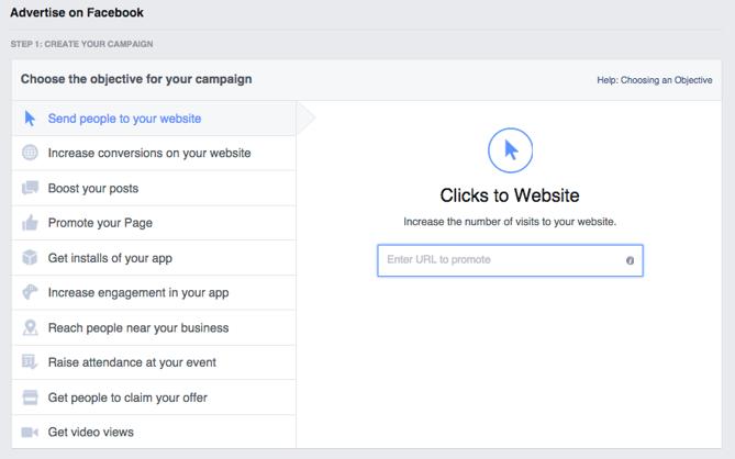 Facebookの広告設定画面