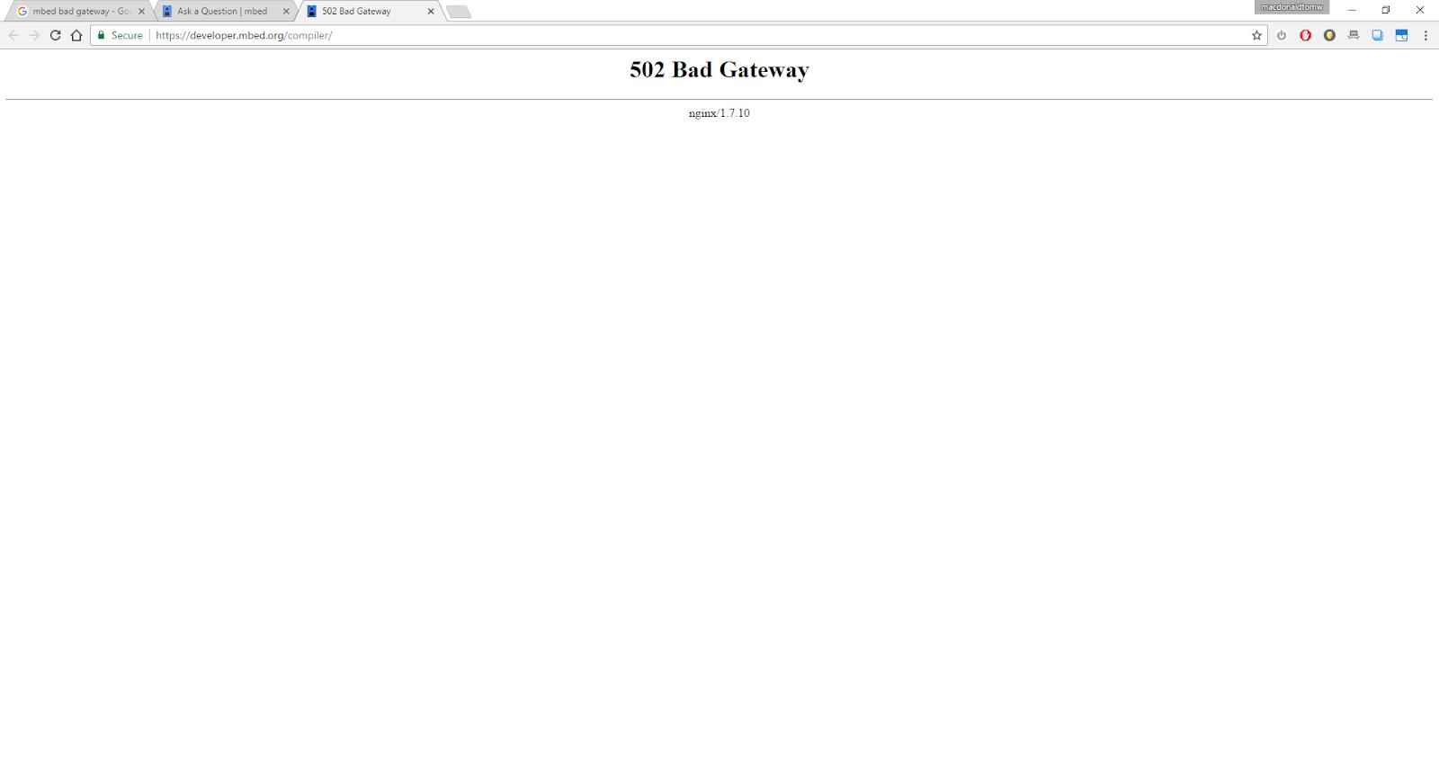 502 bad gateway error
