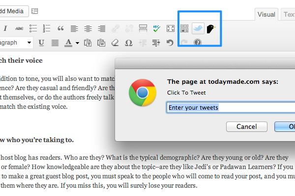 ワードプレスのプラグインClick to Tweetのイメージ