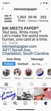 Ink Meets PaperのInstagramのプロフィール欄に表示されているFacebookショップへのリンク