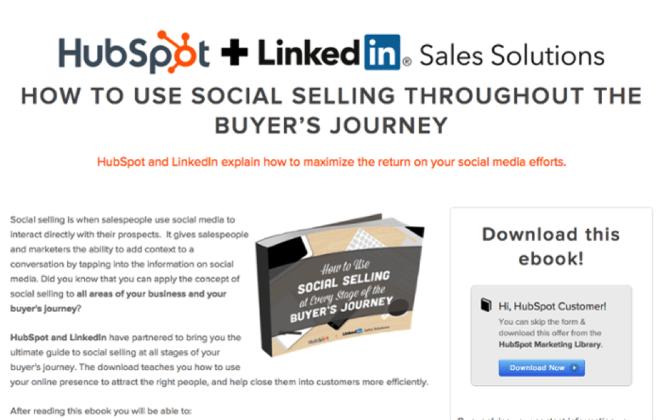 HubSpotとLinkedInによるソーシャルメディアと営業に関する共同マーケティングオファー