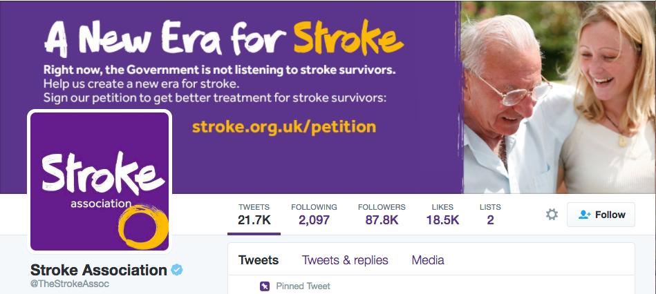 Stroke AssociationのTwitterページ