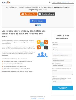 HubSpotのサンキューページ
