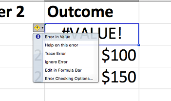 Options dropdown to the left of a #VALUE! Excel error message