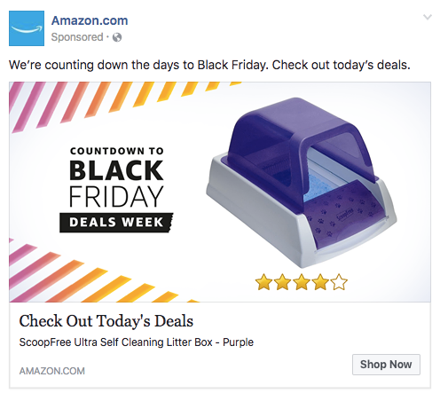 Facebook event ad for litter box by Amazon