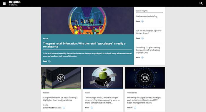 Deloitte Insightsのホームページ、B2Bブログ