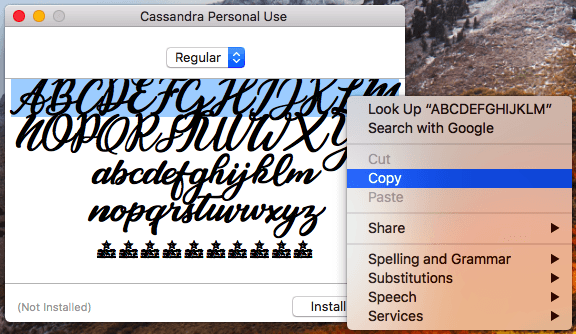 Instagram bio hack for copying the Cassandra font over to your Instagram bio on a desktop.