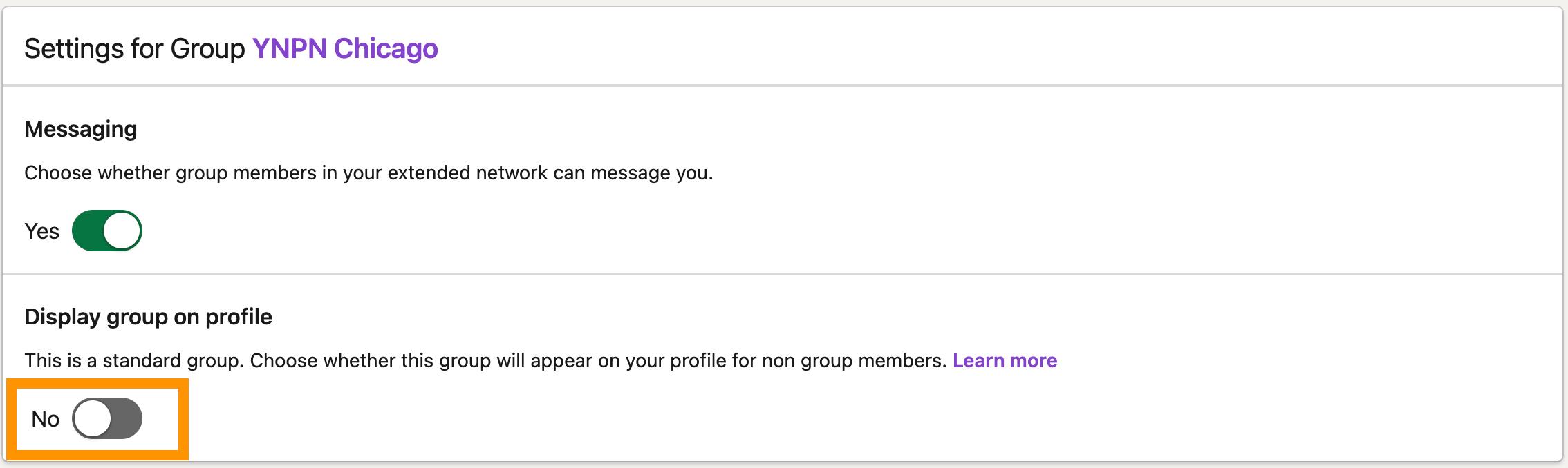 LinkedIn グループの設定画面