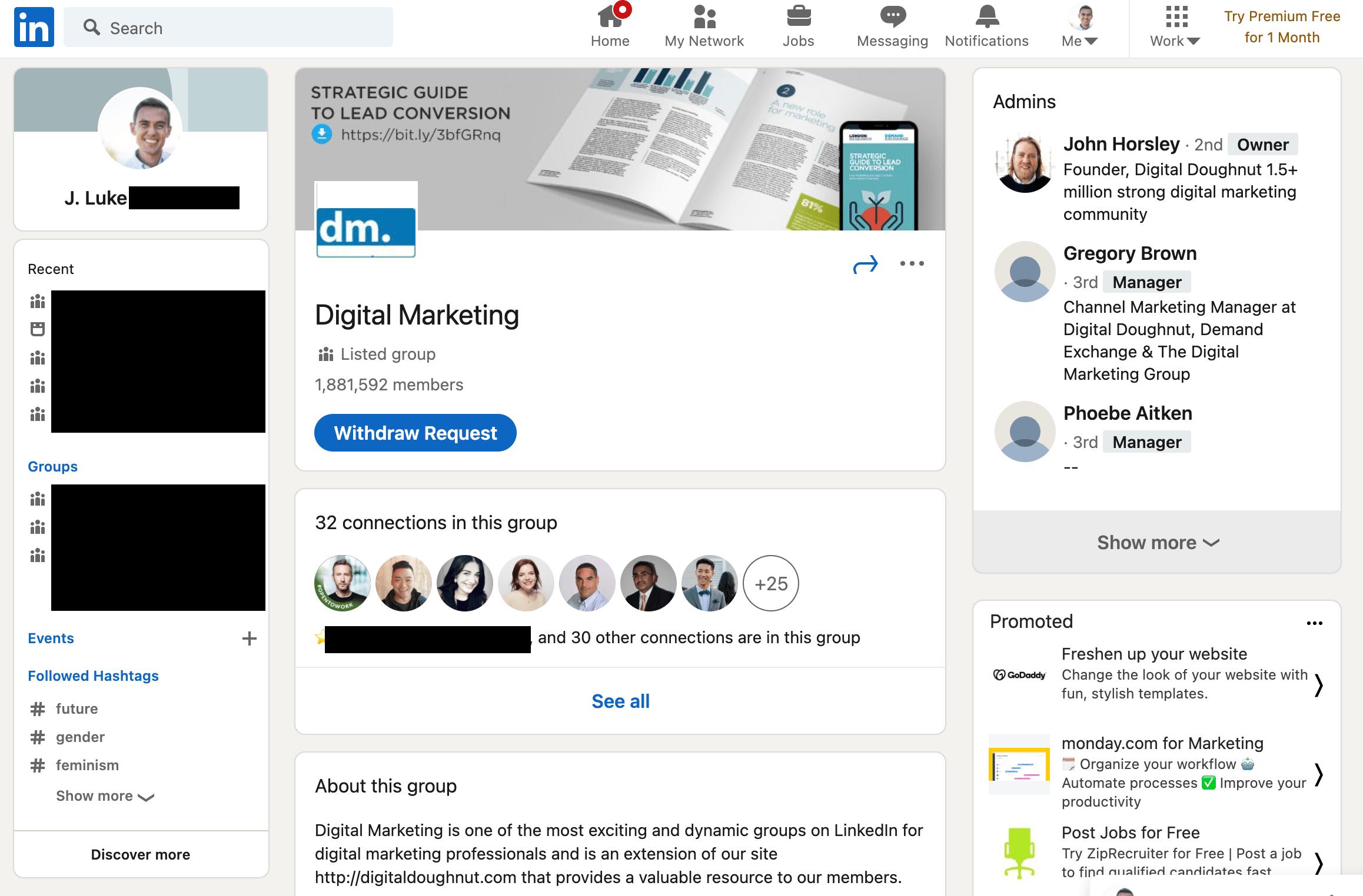 デジタルマーケティングに関するLinkedIn グループのホームページ