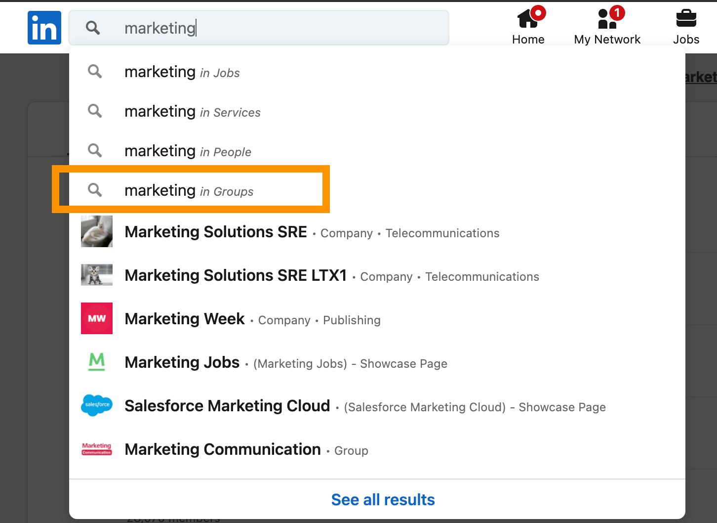 LinkedInの検索バーでマーケティングに関するグループを検索