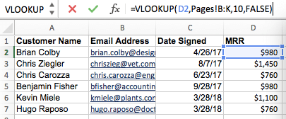 Filling a new column with data from Excel's VLOOKUP formula builder